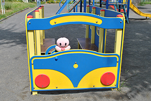 We played playground equipment of bus