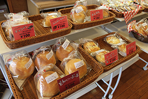 Bread appetizing to cafe in a row
