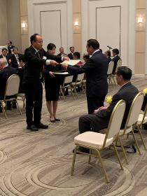 Koichi Nagata who receives testimonial