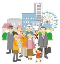 Ilustración de las personas que viven para hervir a Yokohama y las personas activas