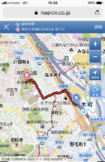 Smartphone route search results screen image