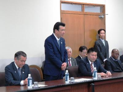 Image of greetings of Chairperson Kajimura