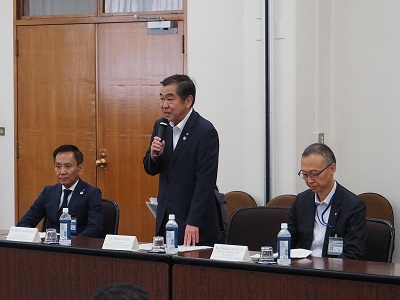 Image of greetings of Chairperson Sato