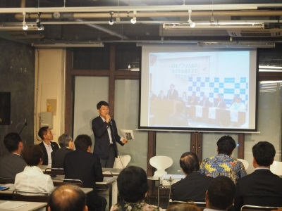Image of the vice-chairperson of federation of diet members for FURUKAWA Naoki at past federation of diet members talking about activity