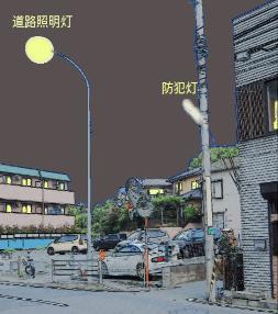 Es un camino que enciende la torre y la ilustración de la luz de prevención de crimen