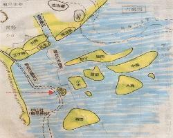 Figura de imaginación de línea (período de Yayoi - la edad de Entierro Montón de tierra) de cosa como la barra de arena flotante de la costa de Tokio Bahía