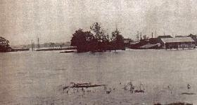 El inundando del Río de Tsurumi de alrededor de 1921