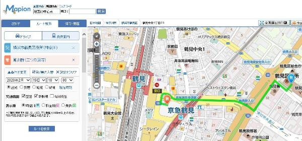 Route search screen