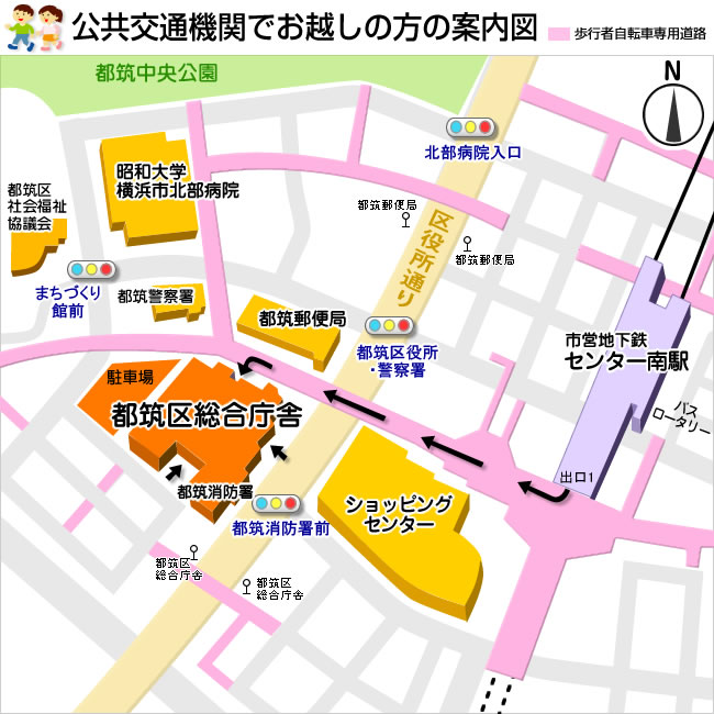 Guide map of person coming in public transport
